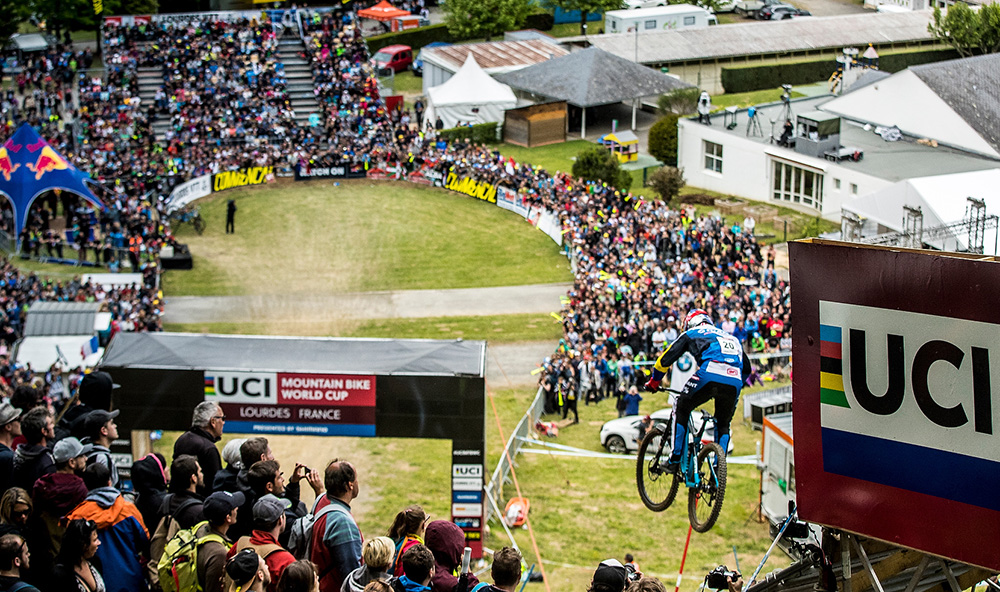 during round one of the UCI MTB World Cup series. Lourdes, France.